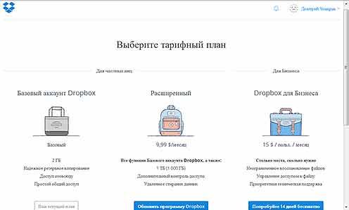 Страница выбора тарифного плана в облаке Dropbox