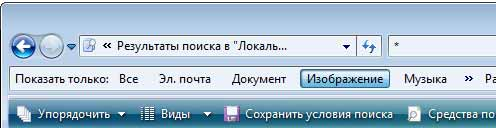 Панель поиска Проводника Windows Vista
