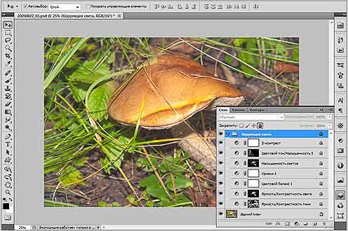 Пример сложной обработки фотографий в программе Photoshop, результаты которой нельзя сохранить в формате JPEG