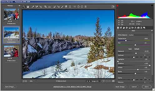 Интерфейс программы Adobe Camera Raw – одной из лучших программ для работы с файлами фотографий формата RAW