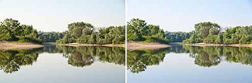 Сравнивая версии одной фотографии, файл которой по-разному «проявлен» в RAW-конверторе видно, что слева небо как будто затянуто облаками, а справа оно чистое