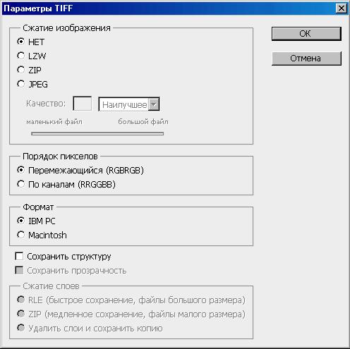 Окно параметров для сохранения файлов фотографий формата TIFF в программе Adobe Photoshop